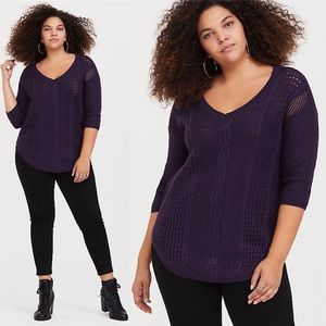 Torrid Purple Lurex Pointelle Tunic Sweater